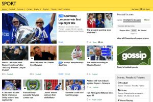 The BBC Sport website website