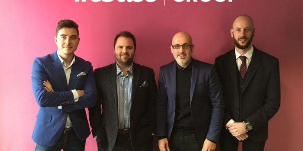 Daniel Clutterbuck (left) with Webtise director Graham Withe, Justin Young and Dave Brown