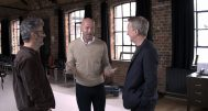 Programme Name: Alan Shearer's Euro 96: When Football Came Home - TX: n/a - Episode: n/a (No. n/a) - Picture Shows: David Baddiel (L) and Frank Skinner (R) laugh with former England striker Alan Shearer (middle) about the making of the iconic Euro 96 song Three Lions  - (C) BBC - Photographer: Grab