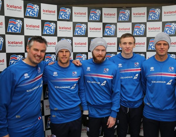 Iceland's social media manager Andy Thompson (left) with some of the Iceland players