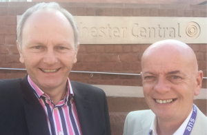 Manchester Business Radio's John Evington (left) and David Duffy