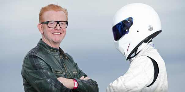 Chris Evans, the new presenter of BBC's Top Gear programme, and The Stig during a photocall on the Boulevard de la Croisette for the annual television industry trade show MIPCOM in Cannes, France.
