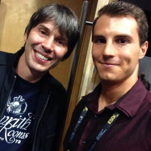 Prof Brian Cox (left) and Mario Gruber of Wakelet at the ESOF Conference