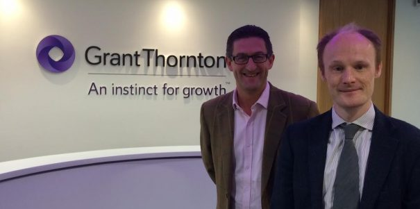 Andy Wood, managing partner at Grant Thornton Leeds, with Ian Briggs, head of media relations at Finn
