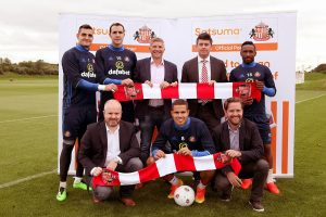 Players, officials and staff from Satsuma Loans and Sunderland AFC