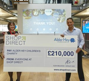 Alder Hey's Clare White with Alex Baldock, CEO at Shop Direct