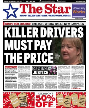 The front page of today's Sheffield Star